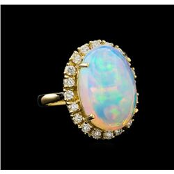 16.90 ctw Opal and Diamond Ring - 14KT Yellow Gold