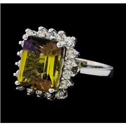 4.62 ctw Ametrine Quartz and Diamond Ring - 14KT White Gold