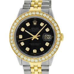 Rolex Mens 2 Tone 18K Black 1.9 ctw Diamond Datejust Wristwatch With Rolex Box