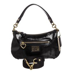 Coach Black Poppy Daisy Liquid Gloss Patent Leather Bag