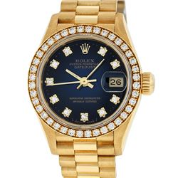 Rolex Ladies 18K Yellow Blue Vignette 1 ctw Diamond President Wristwatch With Ro