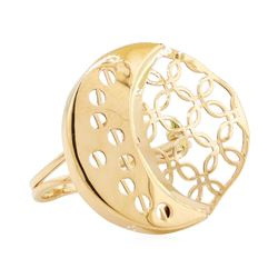 Crescent Moon Motif Ring - 14KT Yellow Gold