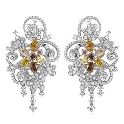 18k Three Tone Gold 5.63CTW Multicolor Dia, Pink Diamond and Diamond Earrings, (