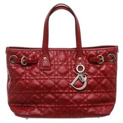Christian Dior Burgundy Leather Cannage Quilted Tote Bag