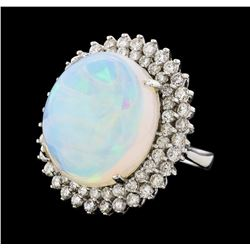 17.42 ctw Opal and Diamond Ring - 14KT White Gold
