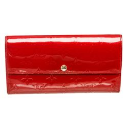 Louis Vuitton Red Monogram Vernis Leather Sarah Wallet
