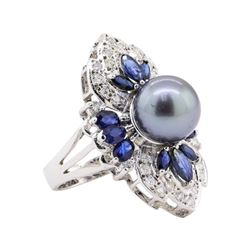 Pearl, Sapphire and Diamond Ring - 14KT White Gold