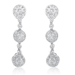14k White Gold 0.75CTW Diamond Earrings, (I1-I2/H)