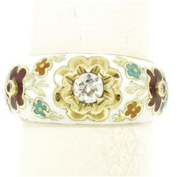 14K Yellow Gold Old Mine Diamond White Red Blue Enamel Flower Band Ring