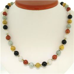 """14K Yellow Gold 24"""" Long Multi Colored 8.5mm Round Jade Bead Strand Necklace"""
