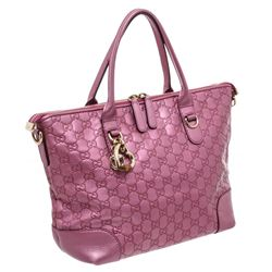 Gucci Metallic Pink Guccissima Leather Two-Way Tote Bag