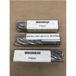 (3) BRUBAKER PT90230 1.25/1.21 X 3 END MILL