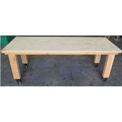 "Rolling Wooden Utility Table on Wheels 8'L x 3'D x 37""H"