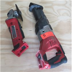 "Milwaukee 4/5"" Cut Off Grinder & Sawzall Reciprocating Saw"