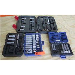 Qty 3 Ratchet & Socket Sets in Case