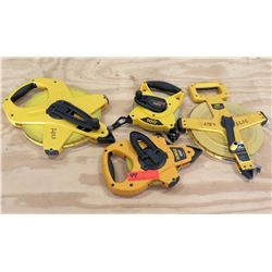Qty 4 Measuring Tapes - 2 @ 100', 2 @ 300' - DeWalt, Stanley, FatMax