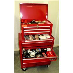 Waterloo Standing Red Metal Rolling Tool Box w/ Multiple Misc Tools