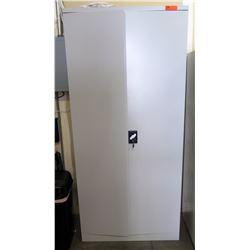 Tall Metal 2 Door 5 Shelf Locking Cabinet w/ Key