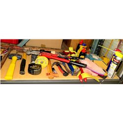 Multiple Misc Tools - Hammers, Bolt Cutter, Clean Up Bags, Tape Measure, etc