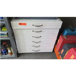 White 6 Drawer Tool Box w/ Multiple Misc Couplings, Fittings, Bolts, etc