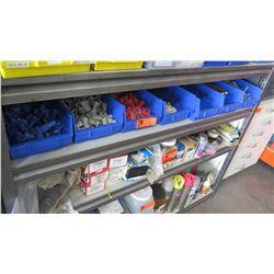Multiple Bins w/ Steel 5/8 Cone Nuts, Plastic Colored Wire Connectors, etc