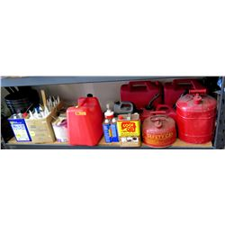 Multiple Metal & Plastic Gas Cans, WD-40, Caulking, Paint Remover, etc
