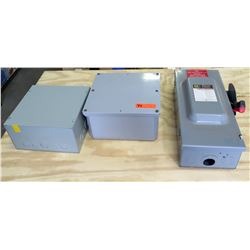 Qty 2 Square Metal Breaker Boxes & Heavy Duty Photovoltaic Safety Switch
