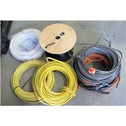 Qty 4 Rolls & 1 Spool Misc Cables & Wire