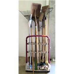 Rolling Cart w/ Landscape & Cleaning Tools - Rakes, Shovels, Broom, etc
