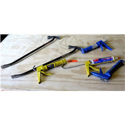 Qty 4 Caulking Guns & 2 Crowbars