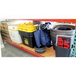 Qty 3 Black Plastic Storage Boxes w Lids, Cooler, Planters, etc