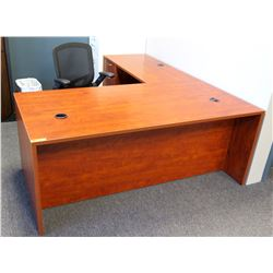 """L"" Shaped Wooden Office Desk w/ Built-in File & Rolling Office Chair"