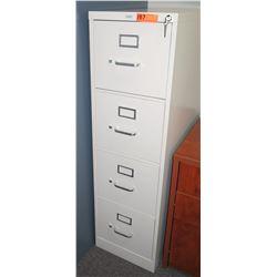 Vertical Beige Metal 4 Drawer Filing Cabinet w/ Lock & Key