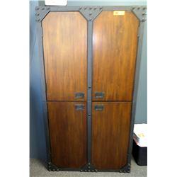 Modern Metal & Wood 4-Door 6-Shelf Office Cabinet