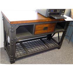 Modern Metal & Wood Table w/ Drawer & Undershelf