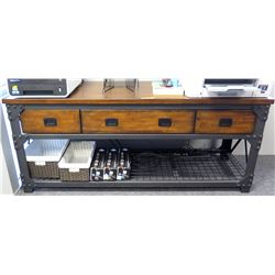 Modern Metal & Wood Console Table 3 Drawers & Undershelf