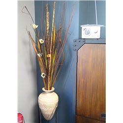 Decorative Large Vase w/ Artificial Flowers & Retro Clock