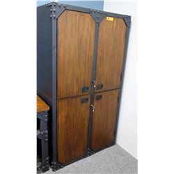 Modern Metal & Wood 4-Door 6-Shelf Cabinet w/ Lock & Key