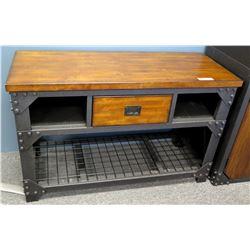 Modern Metal & Wood Side Table w/ Drawer & Undershelf