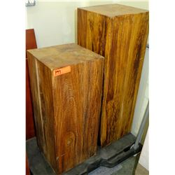 Qty 2 Solid Natural Wood Display Pedestals (Black Cart Included)