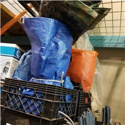COLEMAN SLEEPING BAG AND 2 CRATES OF TARPS - CAMO, ORANGE, BLUE