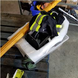 TOTE OF TOOLS, LEVEL GUARD, AND HI VIS SHIRT