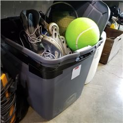 TOTE OF SPORTING GOODS, ROLLER SKATES, CAST