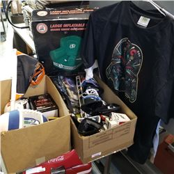 BOX OF NFL,NHL COLLECTIBLES, T-SHIRTS AND ROUGHRIDERS CHAIR