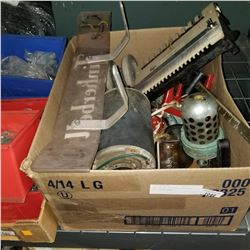 BOX OF AIR FILTERS, WHEELS, AND SCALE BASE