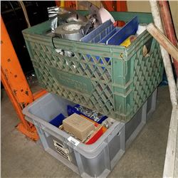 TOTE AND CRATE OF SHOP SUPPLIES