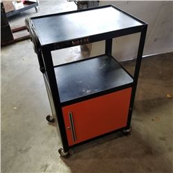 BLACK METAL ROLING CART W/ POWER