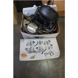 BOXED POT SET, HOT PLATE, AND KITCHEN ITEMS