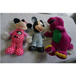 MICKEY MOUSE, MINNIE MOUSE, AND BARNEY