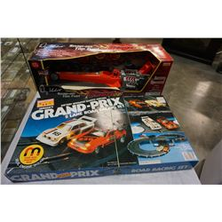 GRAND PRIX SLOT CAR SET AND SNAP ON DRAGSTER TOY